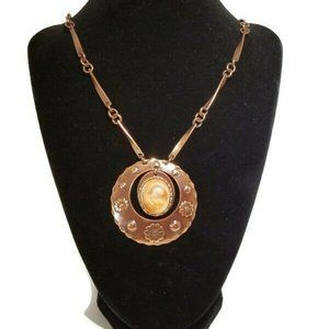Fossil shell copper floral charm Pendant Necklace